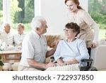 elder man visiting his wife... | Shutterstock . vector #722937850