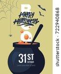 happy halloween cartoon... | Shutterstock .eps vector #722940868