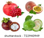 collection of exotic fruits... | Shutterstock . vector #722940949