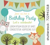 happy birthday card with forest ...   Shutterstock .eps vector #722941318