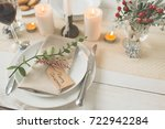 christmas family dinner setting ... | Shutterstock . vector #722942284