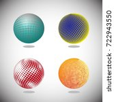 set of globes.  abstract dotted ... | Shutterstock .eps vector #722943550