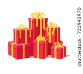 red gift boxes with ribbon  bow ... | Shutterstock .eps vector #722943970