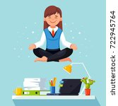 business woman meditating in... | Shutterstock .eps vector #722945764