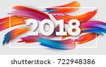 2018 new year on the background ... | Shutterstock .eps vector #722948386