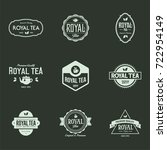 tea shop label and badge with... | Shutterstock .eps vector #722954149