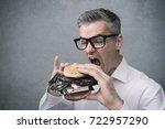 greedy nerd it technology... | Shutterstock . vector #722957290