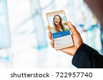 hand holding a phone. beautiful ... | Shutterstock . vector #722957740