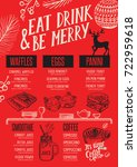 christmas food menu for... | Shutterstock .eps vector #722959618