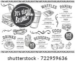 brunch food menu for restaurant ... | Shutterstock .eps vector #722959636