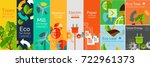 flat banner ecology concept.... | Shutterstock .eps vector #722961373