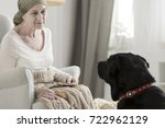 sitting with black dog... | Shutterstock . vector #722962129