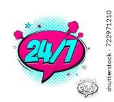 open 24 7 hours pink comic...   Shutterstock .eps vector #722971210