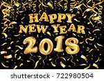 2018 happy new year gold ballon.... | Shutterstock .eps vector #722980504