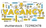 Stock vector vector creative illustration of vacancy yellow word lettering typography with line icons and tag 722982478