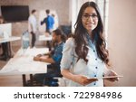 beautiful businesswoman... | Shutterstock . vector #722984986