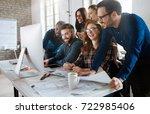 software engineers working on... | Shutterstock . vector #722985406