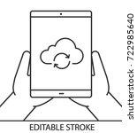 hands holding tablet computer... | Shutterstock .eps vector #722985640