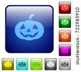 halloween pumpkin icons in... | Shutterstock .eps vector #722985910