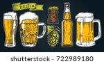 color beer glass  mug  ribbon ... | Shutterstock .eps vector #722989180