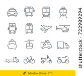 simple public transport icons   ... | Shutterstock .eps vector #722989294