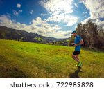 male athlete running in... | Shutterstock . vector #722989828