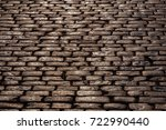 view on wet cobblestone... | Shutterstock . vector #722990440