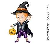 boy in halloween costume | Shutterstock .eps vector #722992198