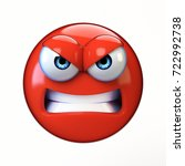 angry emoji isolated on white... | Shutterstock . vector #722992738