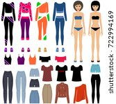 paper dolls with a set of... | Shutterstock .eps vector #722994169