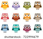 Stock vector set of owls in soft vintage colours different characters owl vectors 722994679