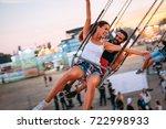 friends having fun outdoors.... | Shutterstock . vector #722998933