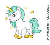 cute magical unicorn. vector... | Shutterstock .eps vector #723000538
