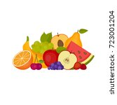 fruits and berries. healthy... | Shutterstock .eps vector #723001204
