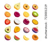 fruits and berries icons set.... | Shutterstock .eps vector #723001219