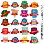 set of twenty discount stickers.... | Shutterstock .eps vector #723007714