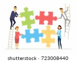 teamwork and cooperation for... | Shutterstock .eps vector #723008440