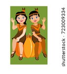 indians for thanksgiving day.... | Shutterstock .eps vector #723009334