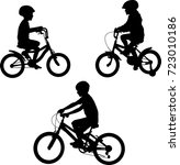 kids riding bicycles... | Shutterstock .eps vector #723010186