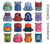 cartoon kids school bags... | Shutterstock .eps vector #723010216