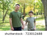 portrait of father with his son ... | Shutterstock . vector #723012688