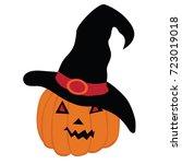 halloween pumpkin with witch...   Shutterstock .eps vector #723019018