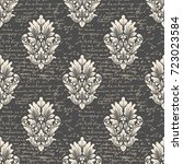 vector damask seamless pattern... | Shutterstock .eps vector #723023584