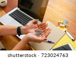 female employees are working... | Shutterstock . vector #723024763