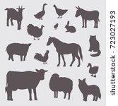farm animals silhouette color... | Shutterstock . vector #723027193