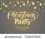 christmas party poster template.... | Shutterstock .eps vector #723027820
