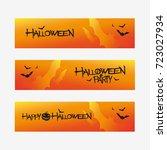 set of halloween design banners ... | Shutterstock .eps vector #723027934