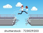 business man suitcase jumping... | Shutterstock .eps vector #723029203