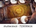 smartphone with iota on screen... | Shutterstock . vector #723030616