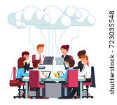 business team working   talking ... | Shutterstock .eps vector #723035548